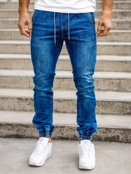 Granatowe spodnie jeansowe joggery męskie Denley KA1538