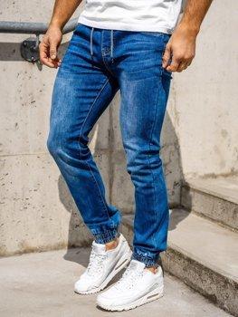 Granatowe spodnie jeansowe joggery męskie Denley KA1539