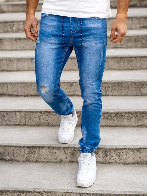 Granatowe spodnie jeansowe joggery męskie Denley KA1720