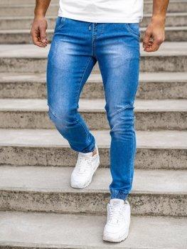 Granatowe spodnie jeansowe joggery męskie Denley KA1721