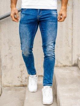 Granatowe spodnie jeansowe męskie regular fit Denley KX509