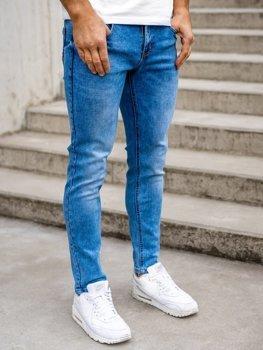 Granatowe spodnie jeansowe męskie skinny fit Denley KX395