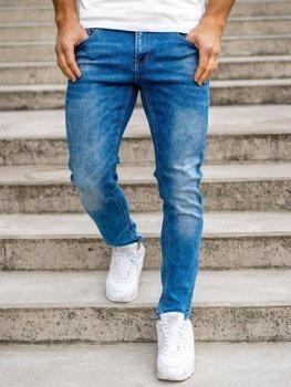 Granatowe spodnie jeansowe męskie skinny fit Denley KX501