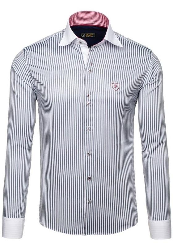 Koszula męska elegancka w paski z długim rękawem biało-szara Bolf 4784