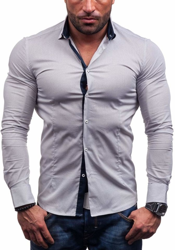 Koszula męska elegancka z długim rękawem biała Denley 7185