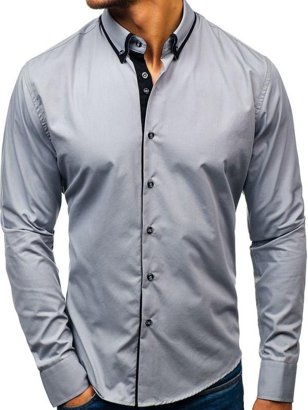 Koszula męska elegancka z długim rękawem szara Bolf 8831