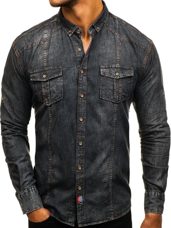 Koszula męska jeansowa z długim rękawem grafitowa Denley 2304