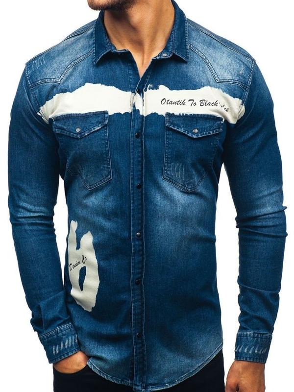 Koszula męska jeansowa z długim rękawem granatowa Denley 2063-1
