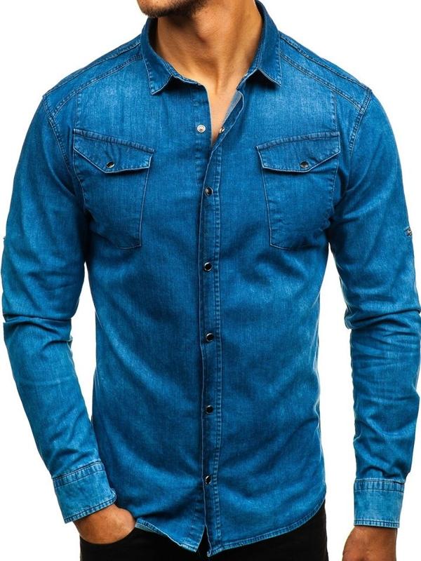 Koszula męska jeansowa z długim rękawem niebieska Denley 2639
