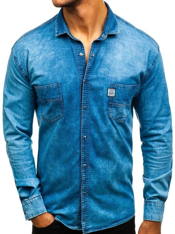 Koszula męska jeansowa z długim rękawem niebieska Denley 2642