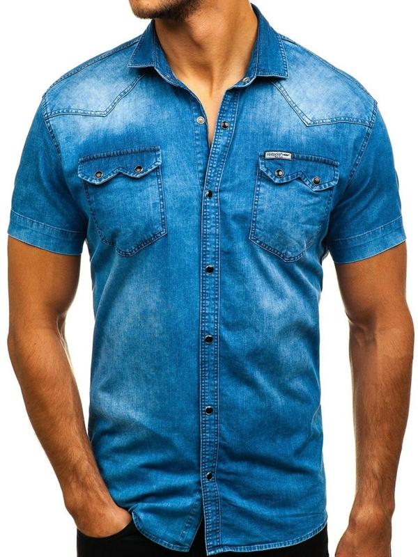Koszula męska jeansowa z krótkim rękawem niebieska Denley 2636