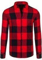 Koszula męska w kratę flanelowa z długim rękawem czerwona Denley 7201