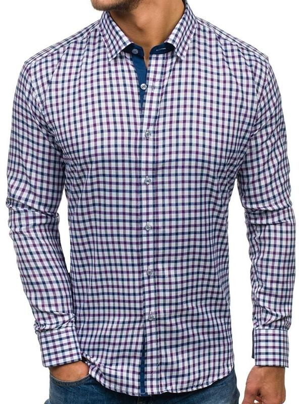Koszula męska w kratkę z długim rękawem granatowo-fioletowa Denley GET33