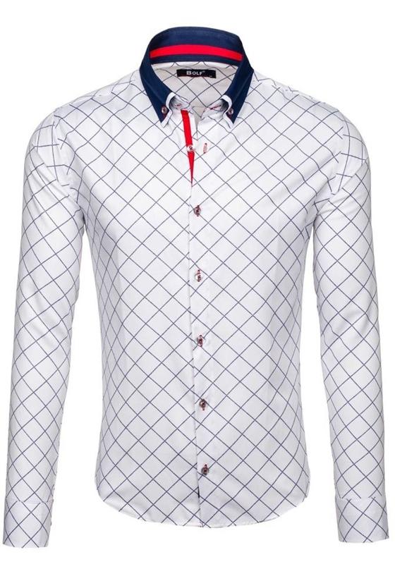 Koszula męska we wzory z długim rękawem biała Bolf 6931