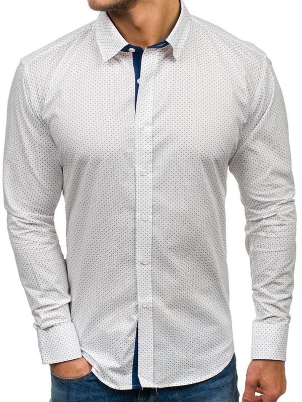 Koszula męska we wzory z długim rękawem biała Denley GE1011