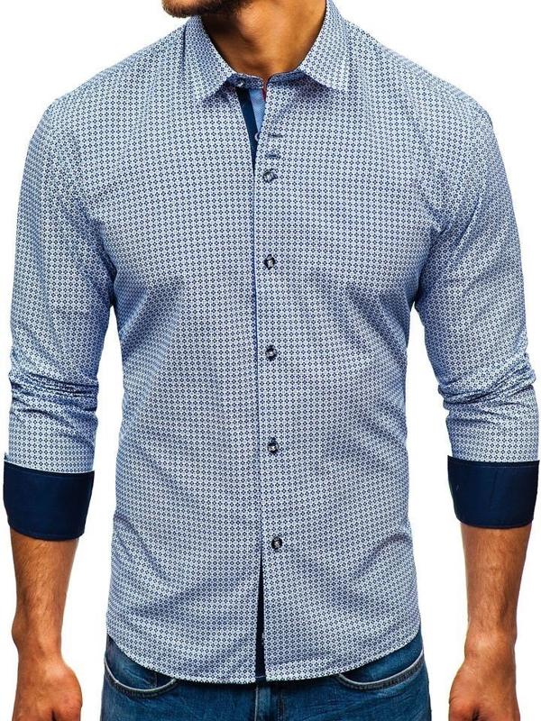 Koszula męska we wzory z długim rękawem biało-granatowa Bolf 9702
