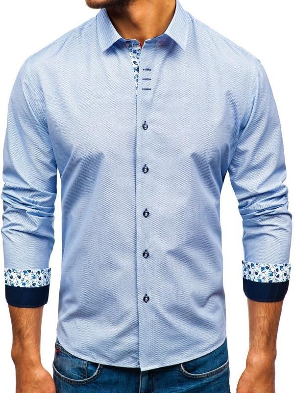 Koszula męska we wzory z długim rękawem biało-granatowa Bolf 9704