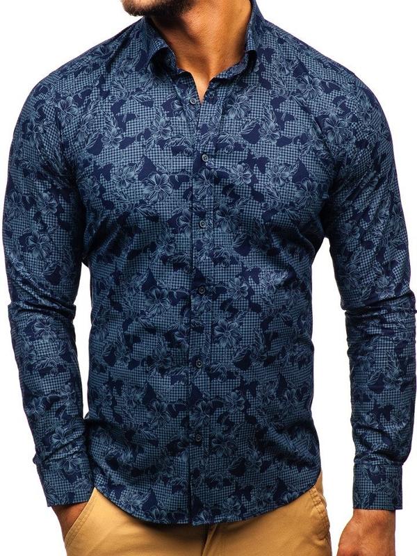 Koszula męska we wzory z długim rękawem granatowa Denley 200G64