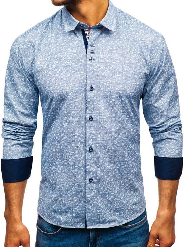 Koszula męska we wzory z długim rękawem granatowa Denley 9701