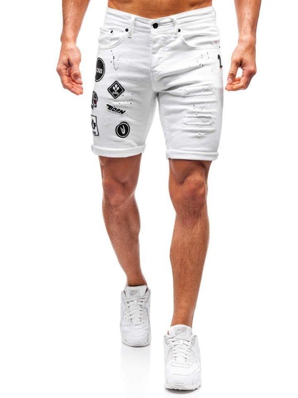Krótkie spodenki jeansowe męskie białe Denley 3029