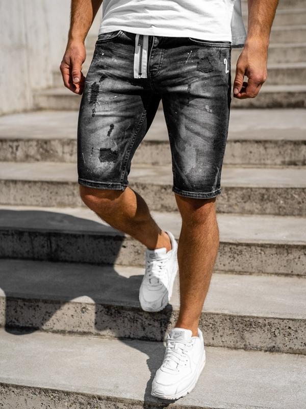 Krótkie spodenki jeansowe męskie czarne Denley 3003