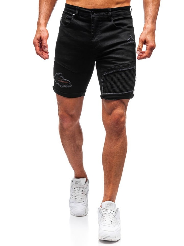 Krótkie spodenki jeansowe męskie czarne Denley T390