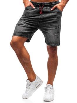 Krótkie spodenki jeansowe męskie grafitowe Denley KK101