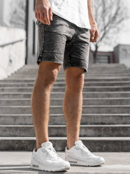 Krótkie spodenki jeansowe męskie grafitowe Denley KK102