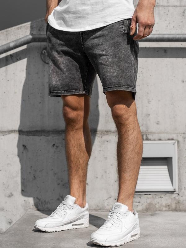 Krótkie spodenki jeansowe męskie grafitowe Denley KK106