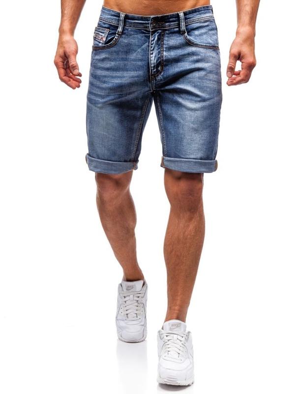 Krótkie spodenki jeansowe męskie granatowe Denley 7787