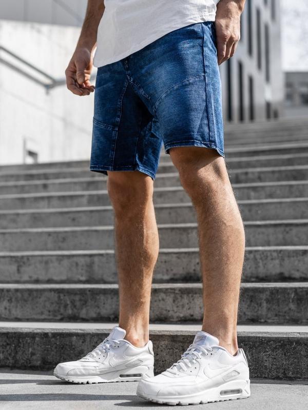Krótkie spodenki jeansowe męskie granatowe Denley KK107