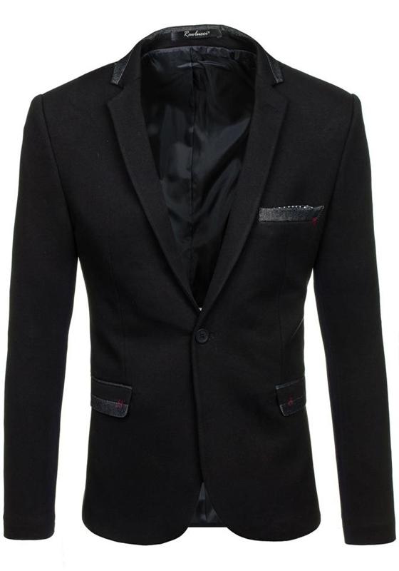 Marynarka męska elegancka czarna Denley M004