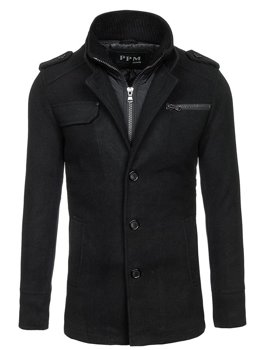 Płaszcz męski czarny Denley 8856C