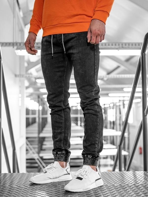 Spodnie jeansowe joggery męskie czarne Denley KA1072-2