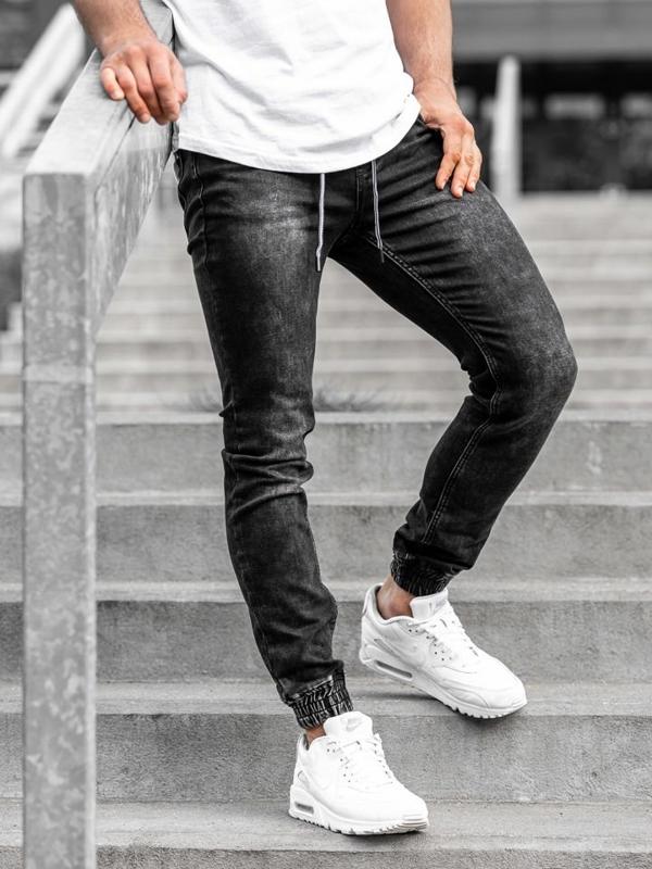 Spodnie jeansowe joggery męskie czarne Denley  KA1075