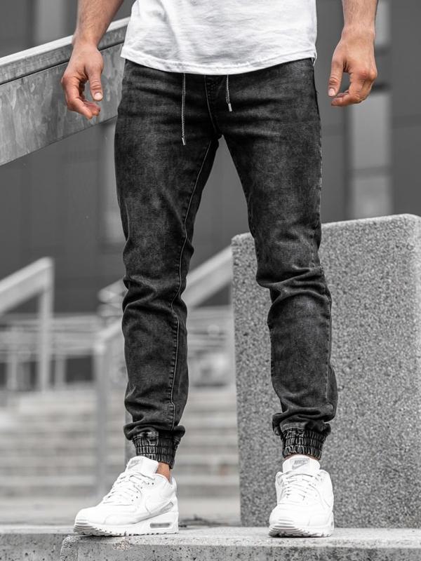 Spodnie jeansowe joggery męskie czarne Denley  KA1082