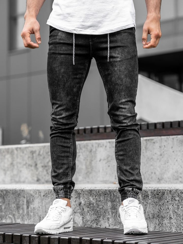 Spodnie jeansowe joggery męskie czarne Denley  KA1278