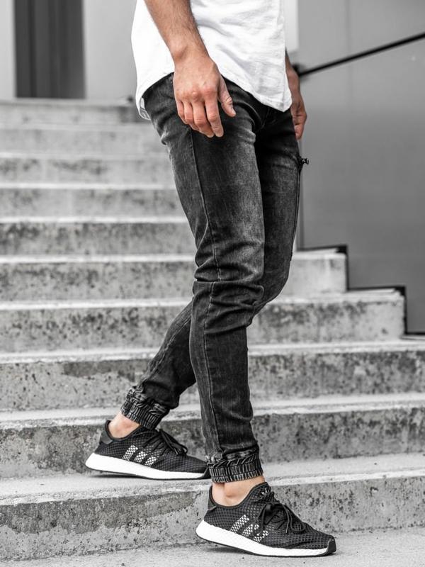 Spodnie jeansowe joggery męskie czarne Denley  KA739
