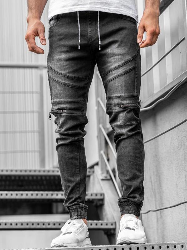 Spodnie jeansowe joggery męskie czarne Denley  KA763