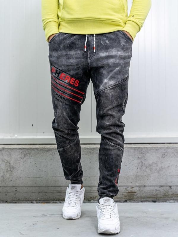 Spodnie jeansowe joggery męskie czarne Denley KK1068