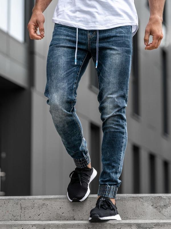 Spodnie jeansowe joggery męskie granatowe Denle KA680
