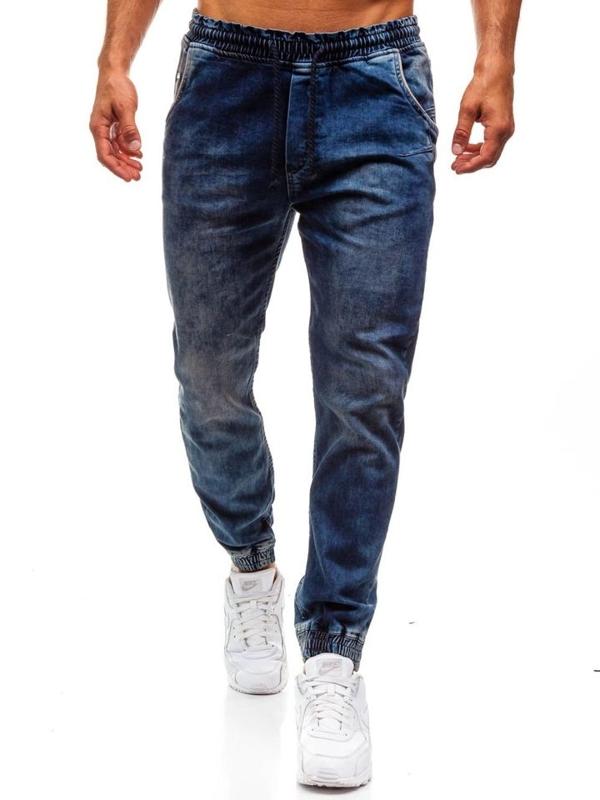 Spodnie jeansowe joggery męskie granatowe Denley 725