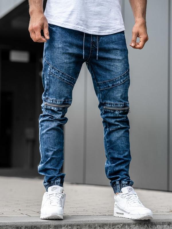 Spodnie jeansowe joggery męskie granatowe Denley KA575