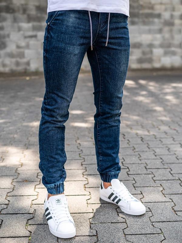 Spodnie jeansowe joggery męskie granatowe Denley KA666