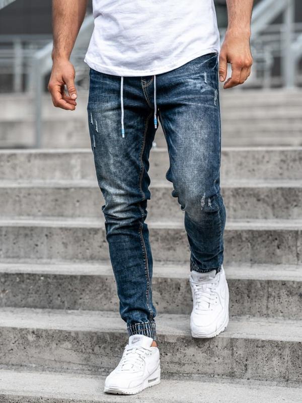 Spodnie jeansowe joggery męskie granatowe Denley  KA679