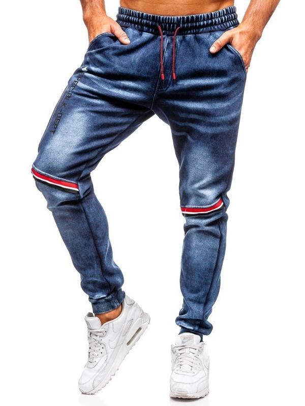 Spodnie jeansowe joggery męskie granatowe Denley KK1058