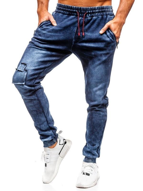 Spodnie jeansowe joggery męskie granatowe Denley  KK1062