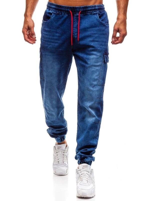 Spodnie jeansowe joggery męskie granatowe Denley Y231