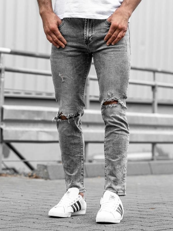 Spodnie jeansowe męskie czarne Denley KA897