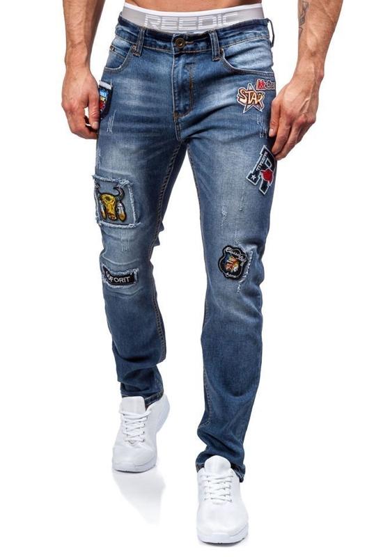 Spodnie jeansowe męskie granatowe Denley 1681